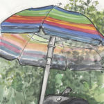 """bbq and umbrella"" watercolor and ink"