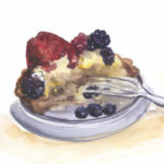 """berry tart, half gone"" watercolor"
