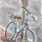 """town cruiser bike"" watercolor and ink"