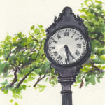"""street clock"" watercolor, ink"