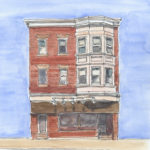 """inman house"" watercolor, ink, graphite"