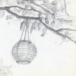 """lantern in trees"" pencil and water-soluble graphite"